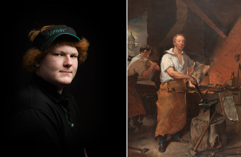 Left:  Kean, Subway Sandwich Artist  by Shauna Frischkorn. Right:  Pat Lyon at the Forge  by John Neagle.  Shauna Frischkorn; Pennsylvania Academy of the Fine Arts, Philadelphia/Courtesy of the National Portrait Gallery