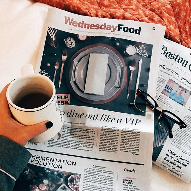 lazin' around on this rainy, gloomy last week of freedom. 👓📰☕️ just started getting @bostonglobe home delivery and have to say, it's so, so nice starting the day and getting allllll my local news without having to interact with my phone. and it's also kinda fun because I feel all retro and do-goody?? and now I have half the supplies to make paper mache crafts??