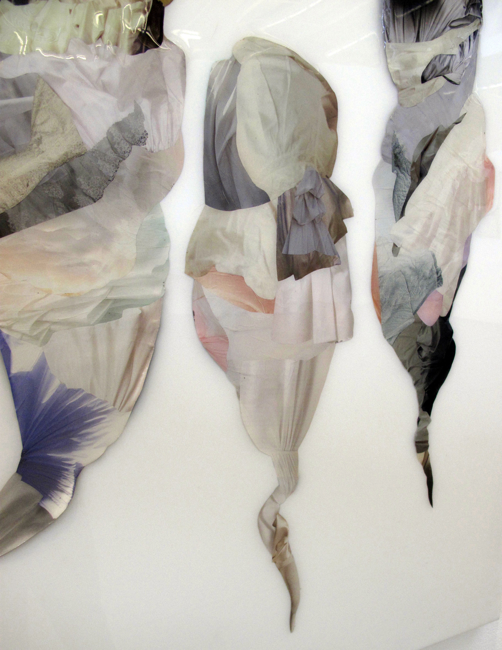 """Swaddle (detail) , Hand-cut and assembled found images, photographs, and plastic resin. 36 X 72"""""""