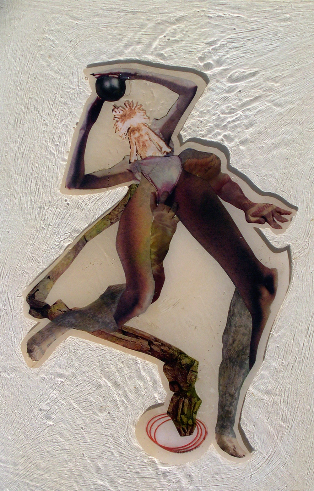 It's Run Away Without Her,  2004, Self-produced photographs and appropriated printed materials cast in plastic resin. 7.25 X 10.25""