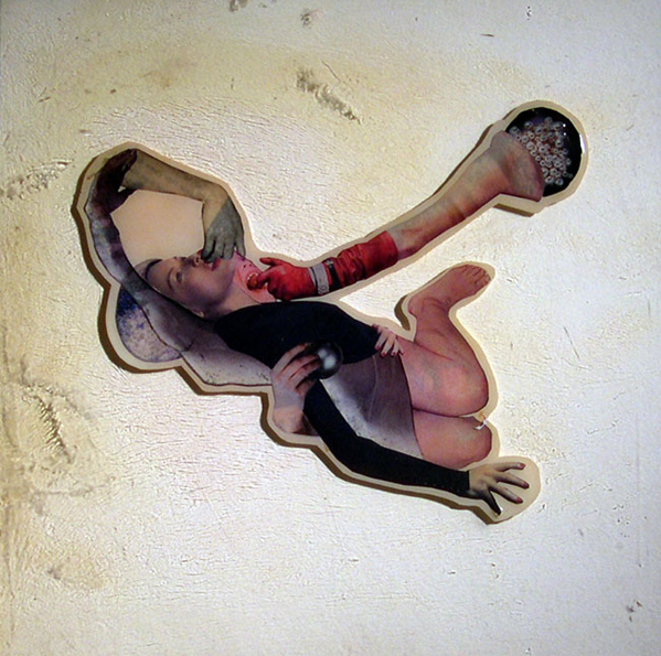 Choke,  2004, Self-produced photographs and appropriated printed materials cast in plastic resin. 10 X 10""