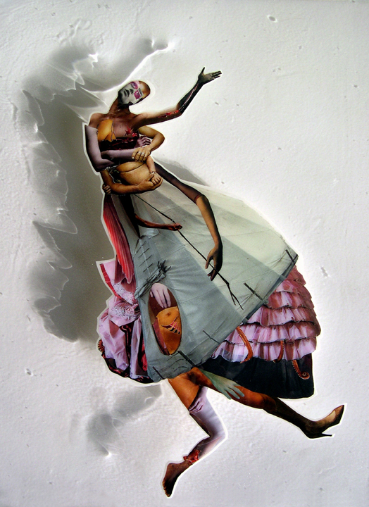 Falling Woman,  2008, Self-produced photographs, vintage photographs, and appropriated printed materials cast in plastic resin. 16 X 20""
