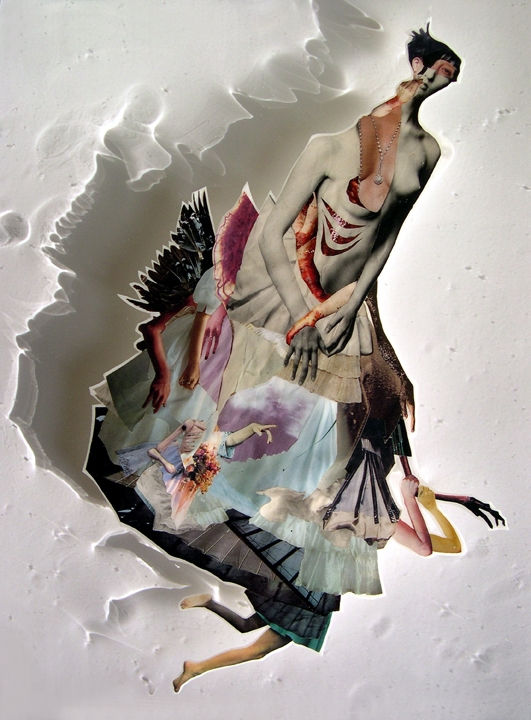 Sinking Ship , 2008, Self-produced photographs, vintage photographs, and appropriated printed materials cast in plastic resin. 16 X 20""
