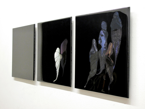 Procession , 2014, Pigment, found images, photographs, resin. 38 X 12""