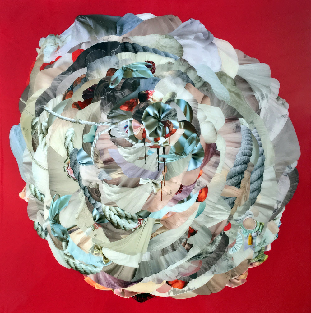 """Baby Blues (Uncast), 2017,Hand-cut and assembled found images, self produced photographs, plexi, pigments, resin. 40x40"""""""