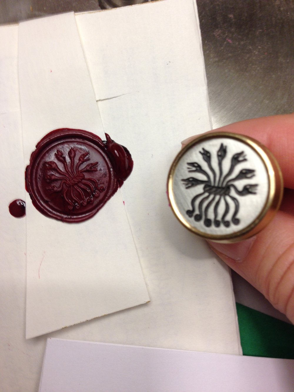 Copy of detail of exposed seal, replica John Donne seal stamp