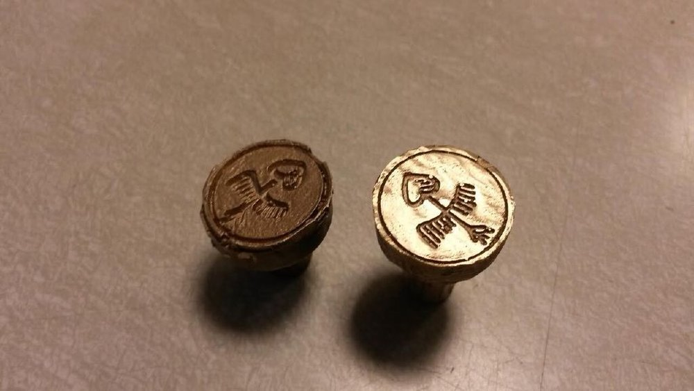 Copy of Michael Christiansen's lost wax bronze cast seal stamps