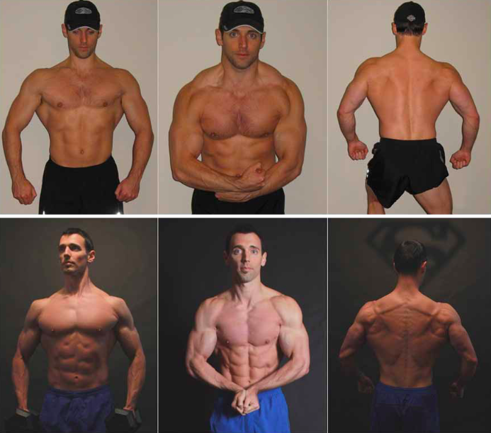 Courtesy of Dr. John Berardi. Intermittent fasted helped Berardi go from 10% body fat (top) to 4% body fat (bottom).