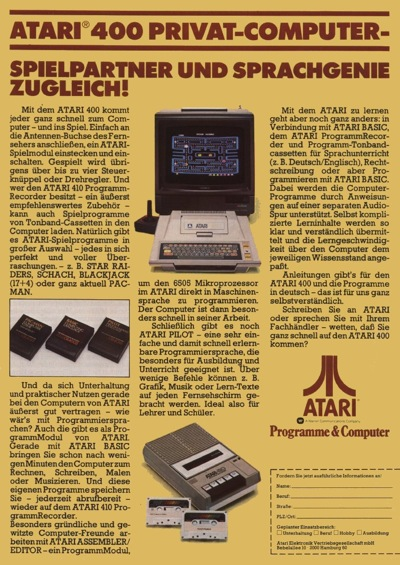 German Atari 400 ad - good for games AND school!