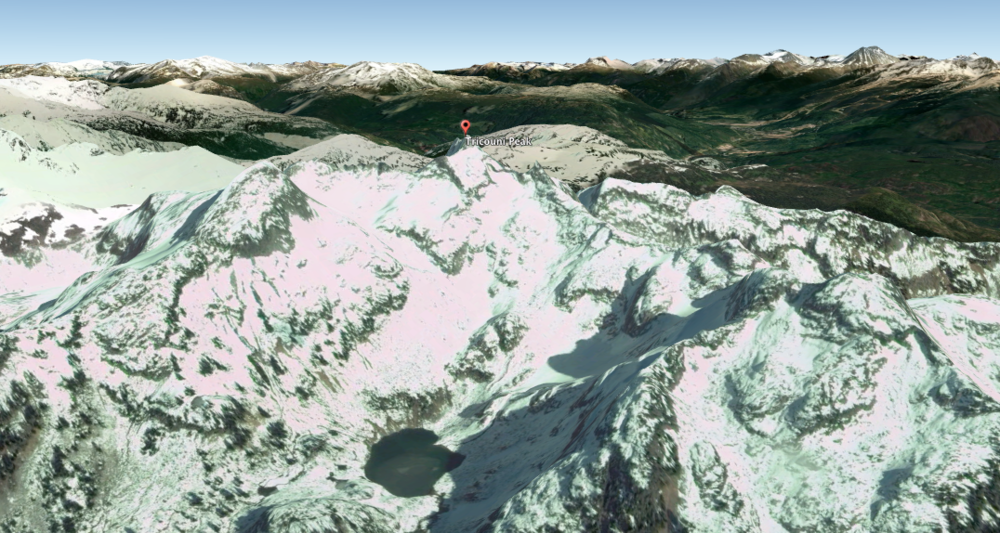 3D satellite image of Tricouni Peak via Google Earth Pro. The little lake in the bottom middle of the photo is one of the frozen ones in the image below.