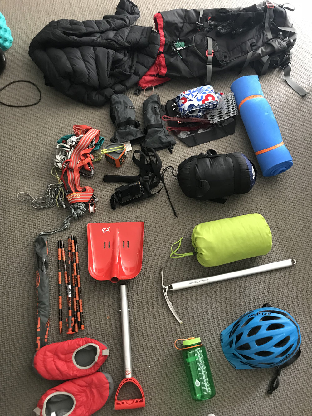 Some of the gear. Not picture: skis, poles, boots, additional warm weather gear.