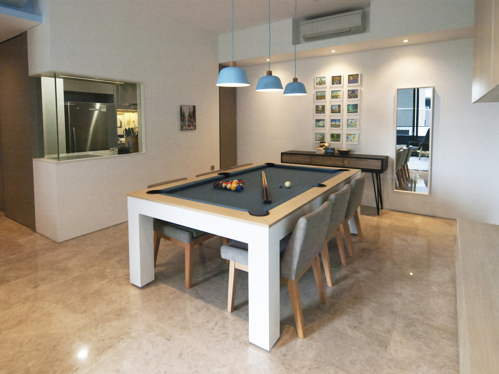 2-in-1 Dining and Pool Table. An entertaining evening - dinner followed by a game of pool.