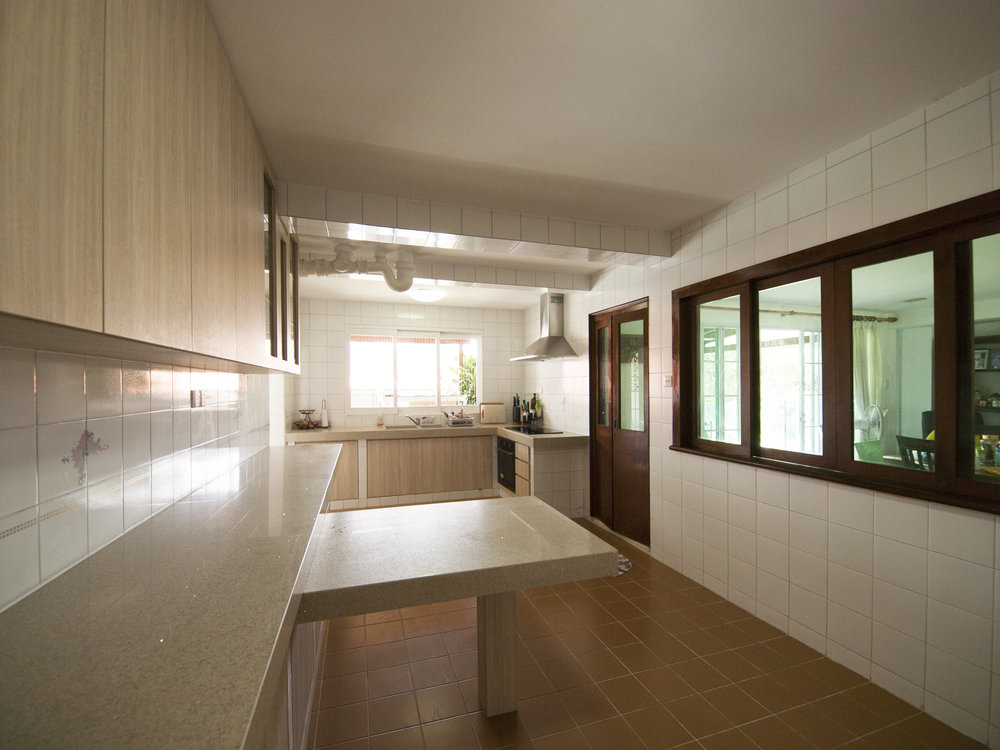 Kitchen with a small dining nook for quick meals.