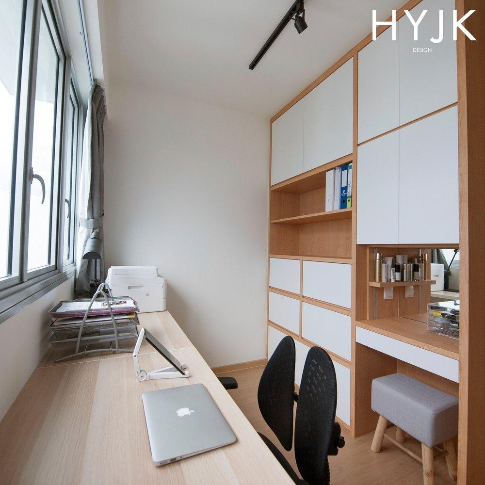 Study corner with a dresser.