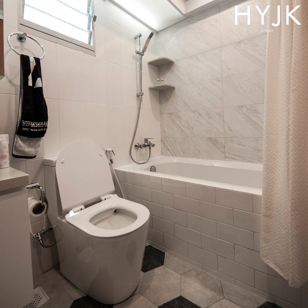 Master Bathroom with a fitted bathtub.