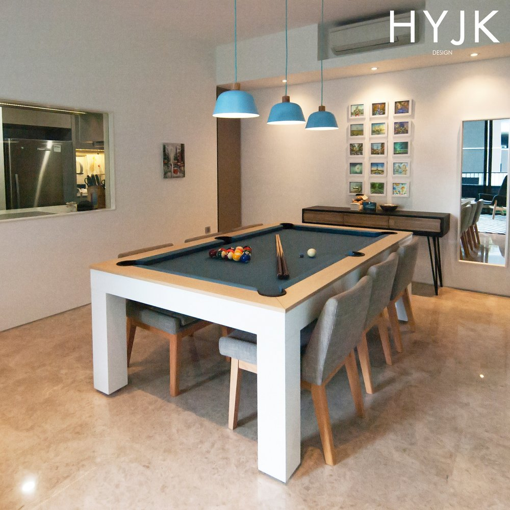 Take a look at this multi-purpose dining table! It doubles up as a pool table. (Project Happy Bones)