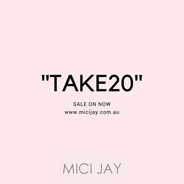 "Take 20% off on your next Purchase - Use the discount code ""TAKE20"" when completing your purchase.  MICI JAY x"