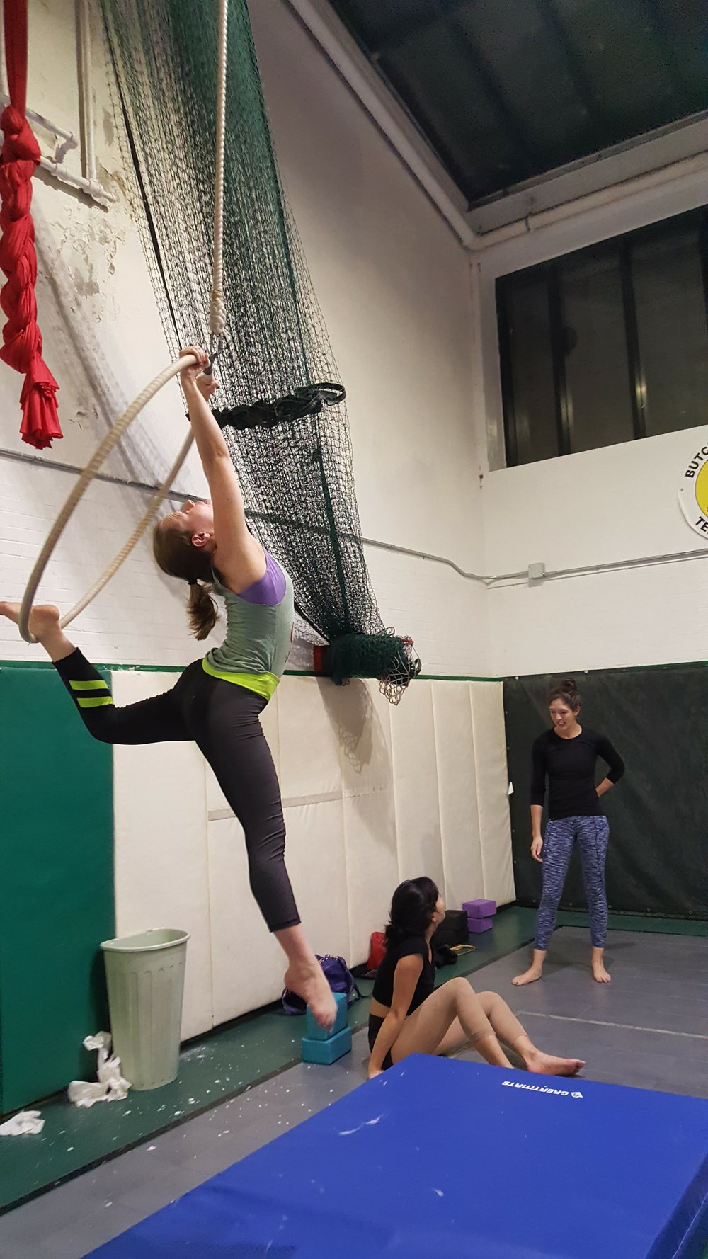 Brittany spins on an aerial hoop...even though her spotting isn't as good as it once was, she's still crushing it.