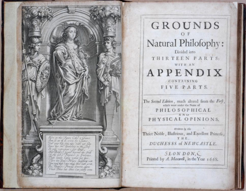 Title page and frontispiece from one of Margaret Cavendish's books. From the collections at the Chemical Heritage Foundation, via  Wikimedia Commons .