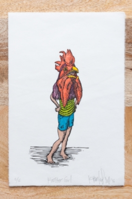 Rooster Girl - $250 Unframed