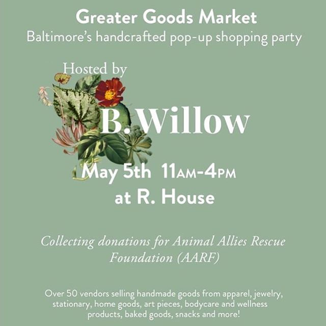 Tomorrow @rhousebaltimore from 11-4! Stop by, say hi, and pick up some fresh handmade goodies!