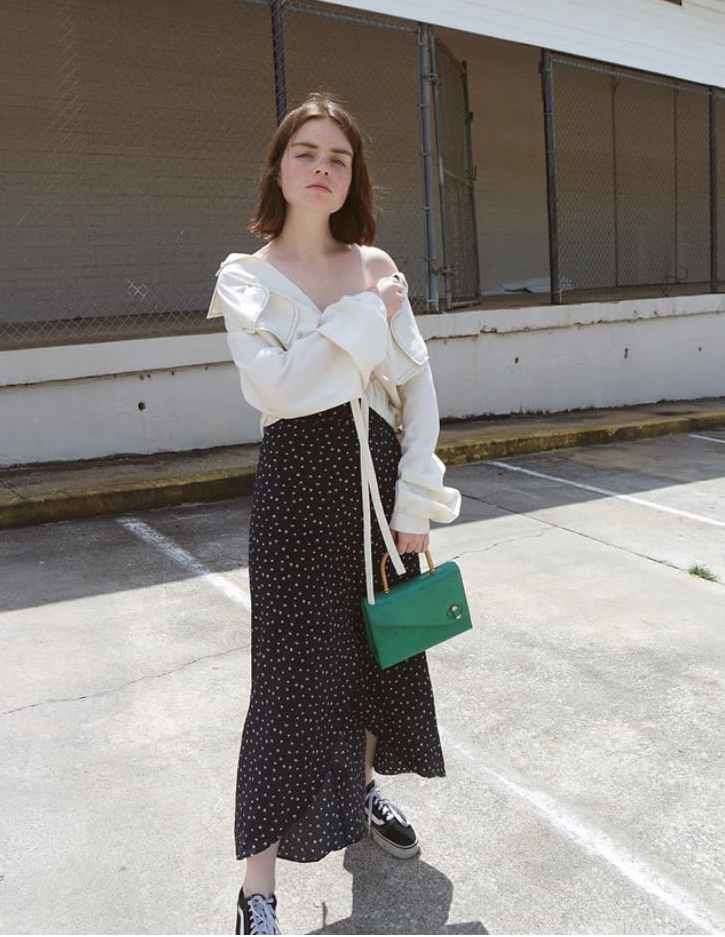 REESE BLUSTEIN of @DOUBLE2XPSOURE in the  GARMENTORY  exclusive LYONS WRAP SKIRT