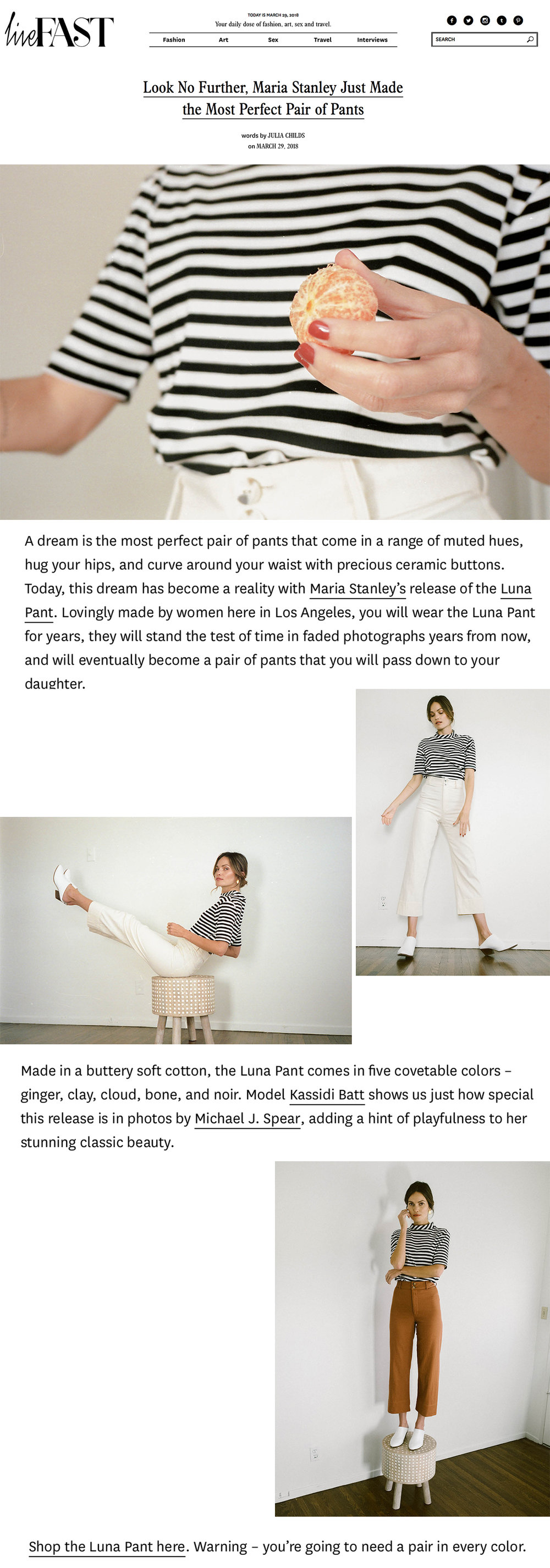 LIVE FAST MAG  writes about the launch of the LUNA PANT. (March 2018)