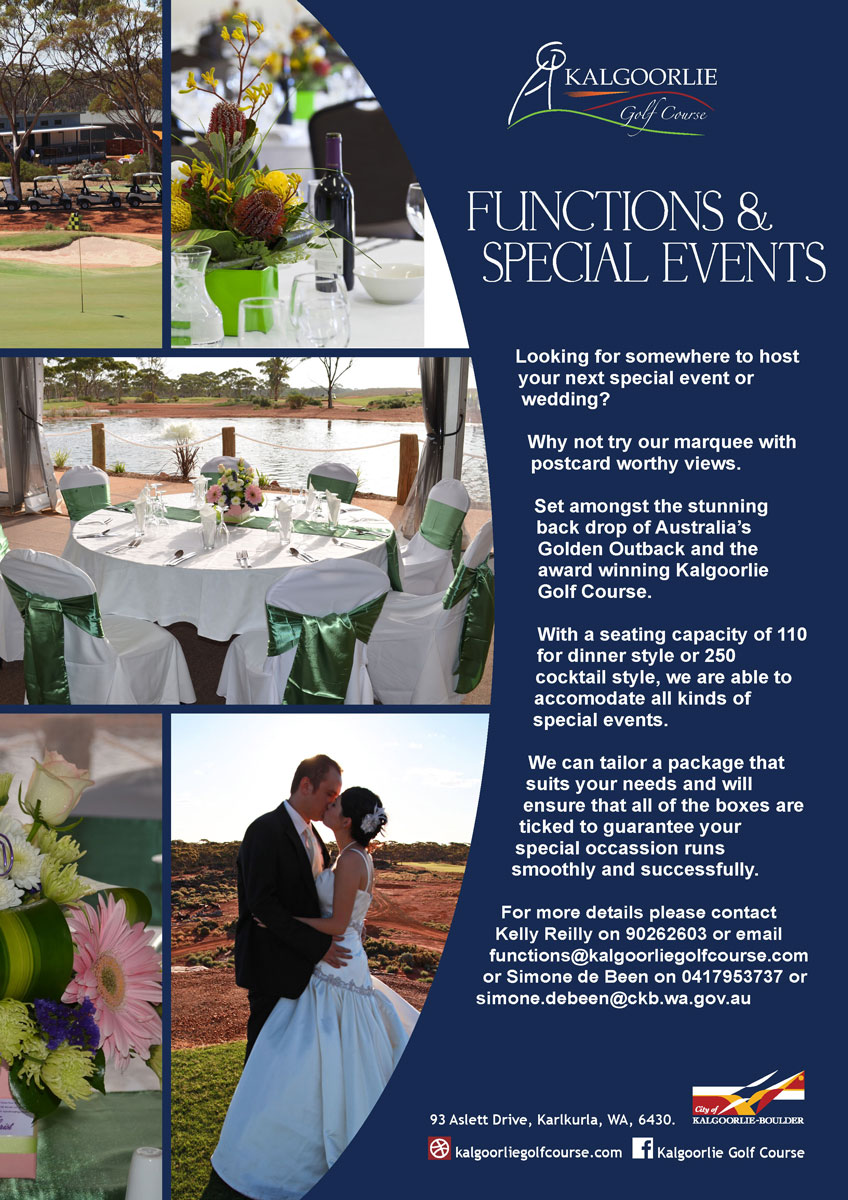 Kalgoorlie Golf Course Functions Flyer