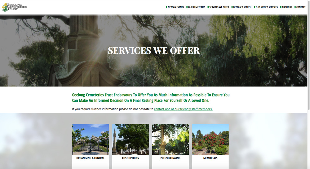 Geelong Cemeteries Trust Website