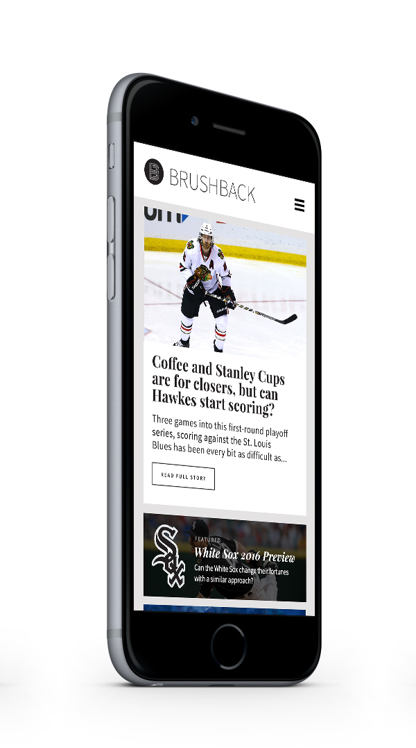 Brushback Sports mobile website by Jacob Stone Design