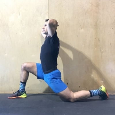 Variation 1: targets quadricep area portion of your hip flexor by pushing your hips forward and down.