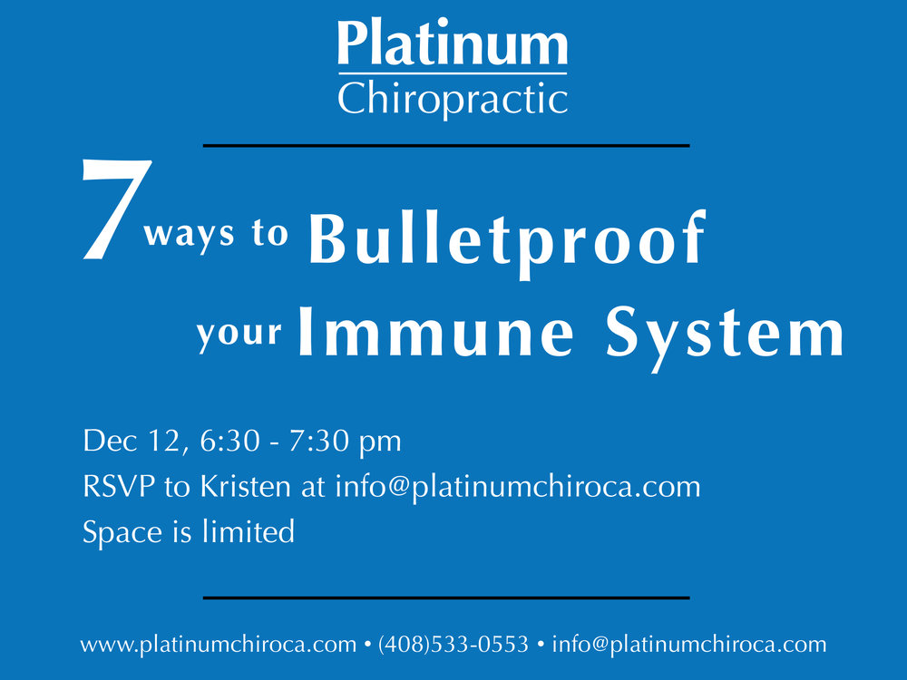 Dr. Karo will address the top 7 things you can do to improve your immunity, and fight the flu. The workshop will be held at our practice location in Santa Clara on Stevens Creek Blvd. Reserve your spot today!