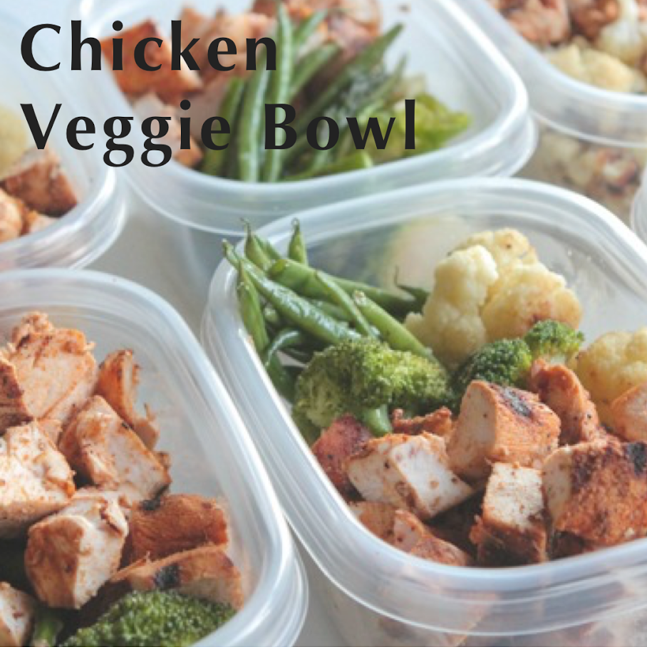 Tips:  1) You can substitute chicken for any kind of fish and substitute the listed veggies for your favorites.  2) If you prefer, you can cook the chicken plain and add salsa/pico de gallo to your bowls later.