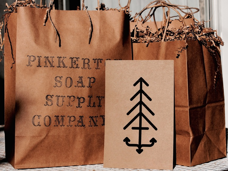 Holiday gift bags and the inception of our 'Pine Anchor' logo.
