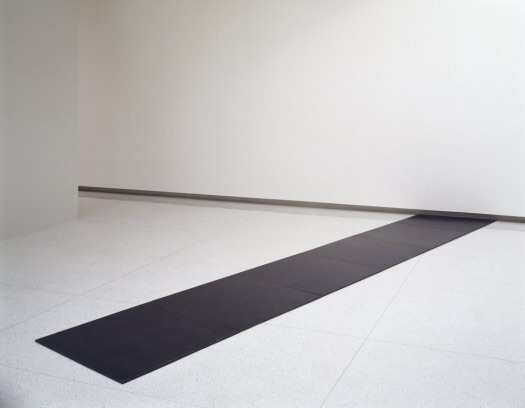 """""""Slope 2004″ by Carl Andre (1968). Material: Steel. Size: overall 0.5 x 204 x 38 inches. Collection: Walker Art Center."""