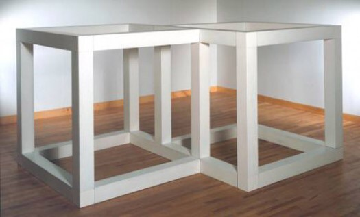 """""""Two Open Modular Cubes/Half-Off"""", by Sol LeWitt (1972). Material: Enameled aluminum. Size: 1600 x 3054 x 2330 mm. Collection: Tate Gallery, London"""
