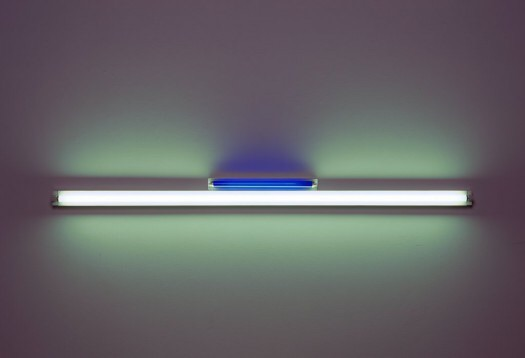Untitled, by Dan Flavin (1963). Material: Ultraviolet, blue fluorescent tubes and fixtures. Size: 8 x 96 x 4 inches. Collection: Walker Art Center