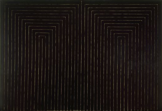 """""""The Marriage of Reason and Squalor, II"""", by Frank Stella (1959). Material: Enamel on canvas. Size: 7′ 6 3/4″ x 11′ 3/4″ (230.5 x 337.2 cm). Collection: MoMA"""