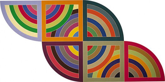 """""""Harran II"""", by Frank Stella (1967). Material: Polymer and fluorescent polymer paint on canvas. Size: 10 x 20 feet (304.8 x 609.6 cm). Collection: Guggenheim Museum, New York."""