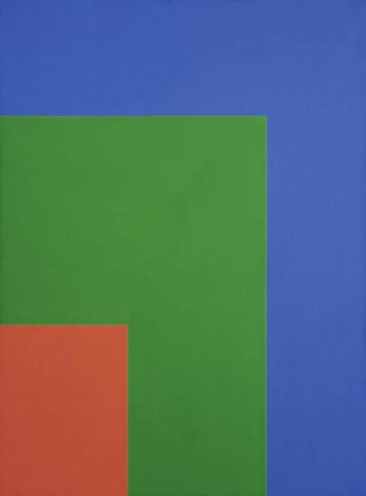 """""""Red Green Blue"""", by Ellsworth Kelly (1964). Material: Oil on canvas. Size: unframed 90 x 66 inches. Collection: Walker Art Center."""