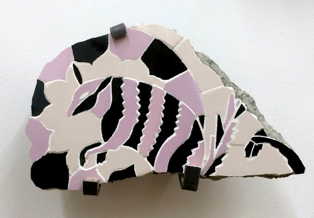 Joe Bochynski, Armadillo in Pink and Black Surrounded by Flower Petals, 2016.16. Excavated from condo development at 476 Woodward Ave. Ridgewood, NY. Possibly from the Otomi people. Courtesy of Joe Bochynski