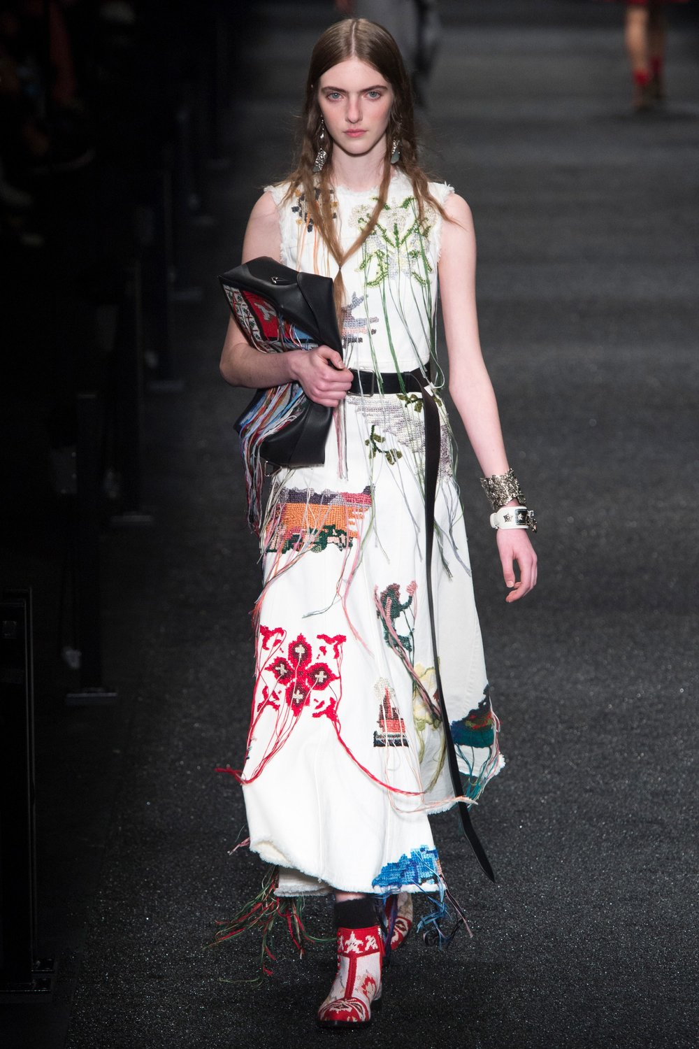 Alexander McQueen -  pops of colour & unfinished embroideries... on white