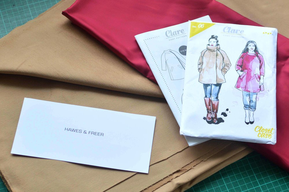 Hawes and Freer Package of Moleskin and Clare Coat Pattern by Close Case Patterns