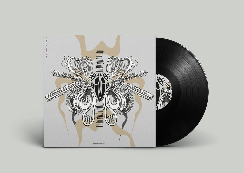 Album cover design for Drew Worthey's album 'CRUCIBLE'