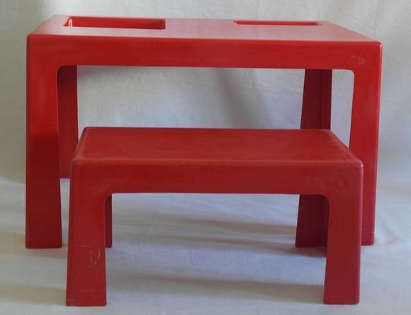 Petit mobilier de bureau bureau en verre rouge abi