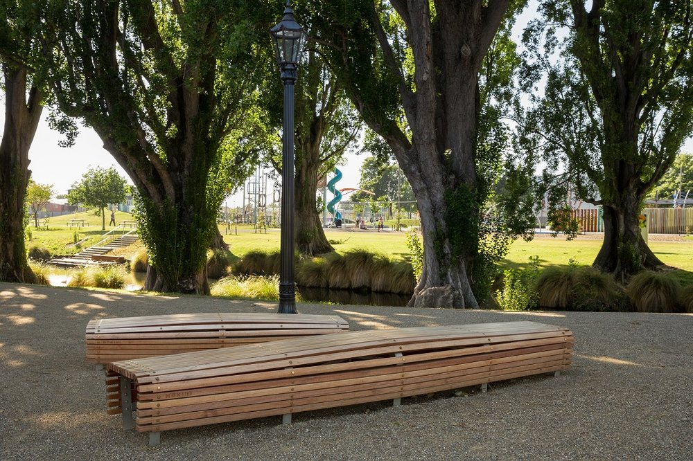 The site of a former plantation, bespoke seating now provides a place of rest at Barkers Reserve