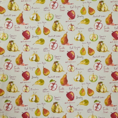 Autumn Fruits Linen 100% Cotton 140cm | 32cm Curtaining