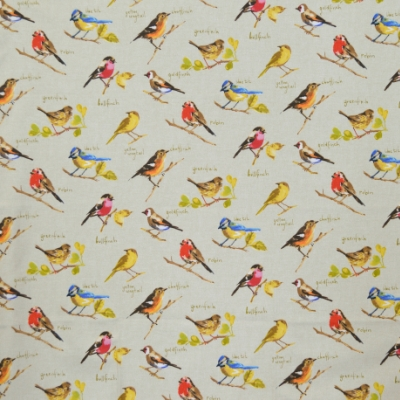 Garden Birds Linen 100% cotton 140cm | 32cm Curtaining