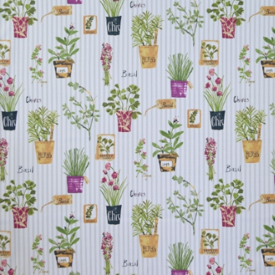 Herb Pots Sage 100% cotton 140cm | 64cm Curtaining