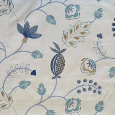 Fiorella Indigo 46%Poly/42%Cott/12%Visc 140cm (useable 128cm) |31.2cm Embroidery
